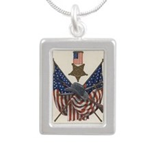 Memorial Day Silver Portrait Necklace