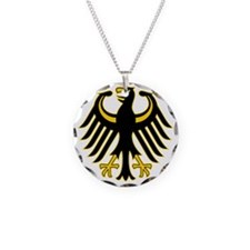 Retro German Eagle Yellow Necklace Circle Charm