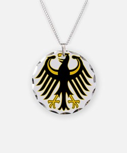 Retro German Eagle Yellow Necklace Circle Charm