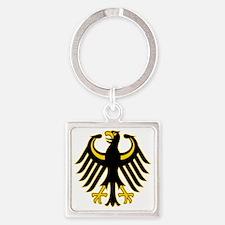 Retro German Eagle Yellow Square Keychain