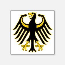"""Retro German Eagle Yellow Square Sticker 3"""" x 3"""""""
