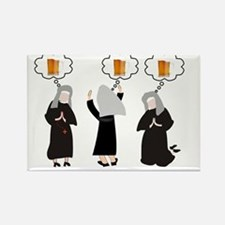 Nuns and Beer Thoughts Rectangle Magnet