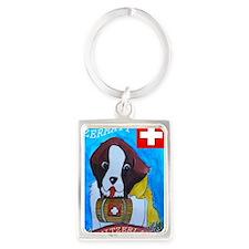 St Bernard card Portrait Keychain