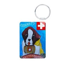 St Bernard card Aluminum Photo Keychain