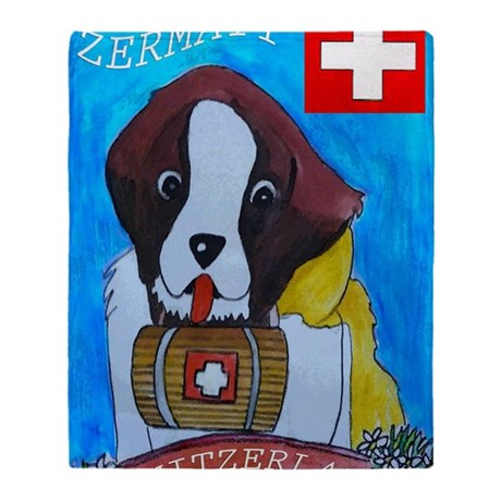 St Bernard frame Throw Blanket