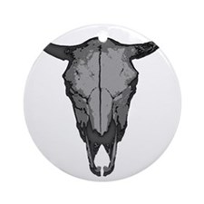 COW SKULL-BW Round Ornament