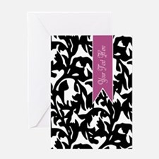Black and White Pattern with Purple Banner Greetin