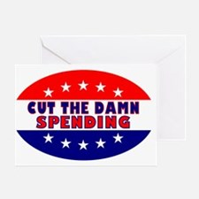 OvalStickerCutTheDamnSpending Greeting Card