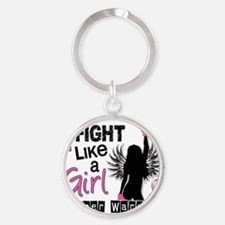 Fight Like A Girl Breast Cancer 26. Round Keychain