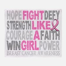 Fight Like A Girl Breast Cancer 23.3 Throw Blanket