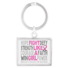 Fight Like A Girl Breast Cancer Landscape Keychain