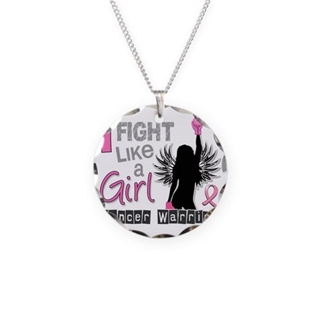 Fight Like A Girl Breast Can Necklace Circle Charm