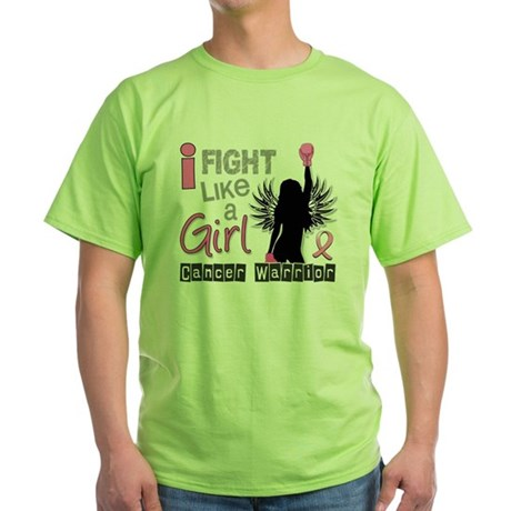Fight Like A Girl Breast Cancer 26.2 Green T-Shirt