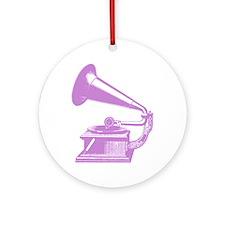 GramophoneLavender Round Ornament