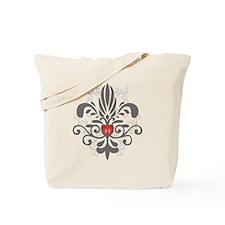FleurHeartGrayTR Tote Bag