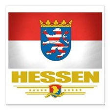 "Hessen (Flag 10) Square Car Magnet 3"" x 3"""