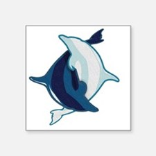 "dolphin yin and yang Square Sticker 3"" x 3"""