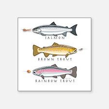 """Salmon + Trout Square Sticker 3"""" x 3"""""""
