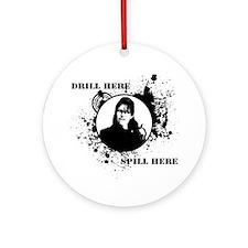 Drill-Spill-Shirt Round Ornament