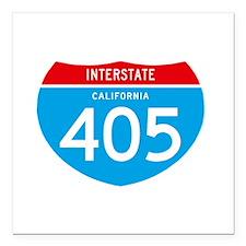 """interstate405F Square Car Magnet 3"""" x 3"""""""