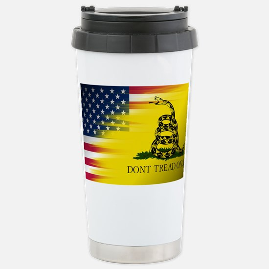 American and Gadsden Flag Stainless Steel Travel M