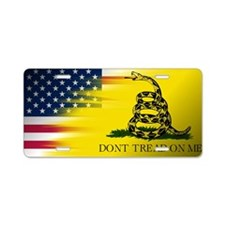 American and Gadsden Flag Aluminum License Plate