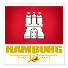 "Hamburg (Flag 10) Square Car Magnet 3"" x 3"""