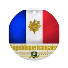 French Flag-Emblem (Flag 10) Round Ornament