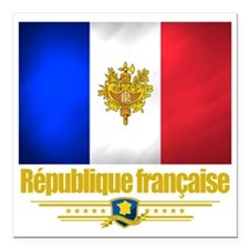 "French Flag-Emblem (Flag Square Car Magnet 3"" x 3"""