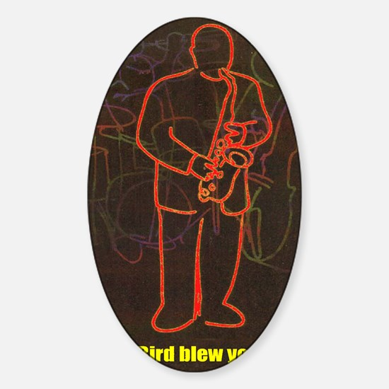 Bird_Blew_16x20 Sticker (Oval)