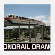 monorail ORANGE poster copy Tile Coaster