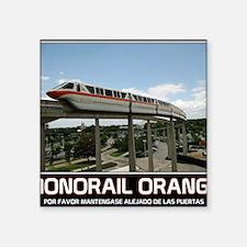 """monorail ORANGE poster copy Square Sticker 3"""" x 3"""""""