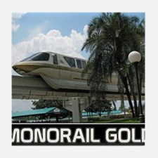 monorail gold poster copy Tile Coaster