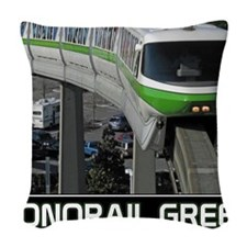 monorail gREEN poster copy Woven Throw Pillow