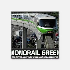 "monorail gREEN poster copy Square Sticker 3"" x 3"""