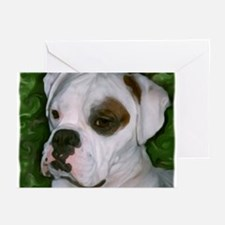 Funny White boxer dog Greeting Cards (Pk of 10)