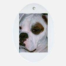 Cute White boxer dog Oval Ornament