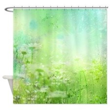 Green Watercolor Floral Shower Curtain