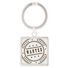 logo wanted Square Keychain