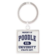 Poodle-University Square Keychain