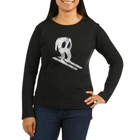 Worn Horace Skiing Women's Long Sleeve Dark T-Shir