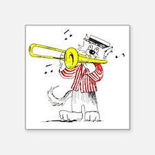 """Trombone in color TRANS BAC Square Sticker 3"""" x 3"""""""