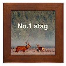 No1 stag Framed Tile