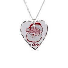 Santa Merry Christmas Necklace Heart Charm