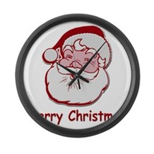 Santa Merry Christmas Large Wall Clock