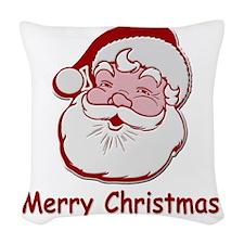 Santa Merry Christmas Woven Throw Pillow