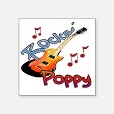 "ROCKIN POPPY Square Sticker 3"" x 3"""