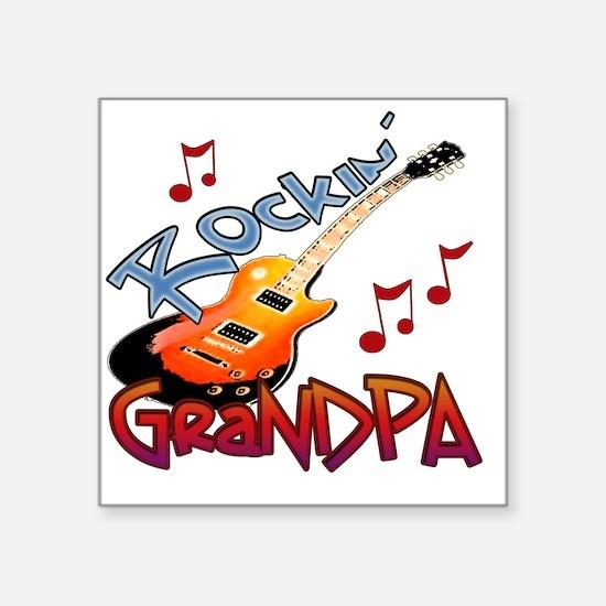 "ROCKIN GRANDPA Square Sticker 3"" x 3"""