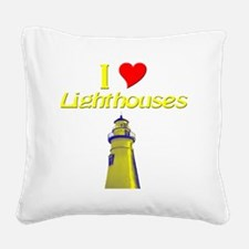 beach island cape lighthouse Square Canvas Pillow