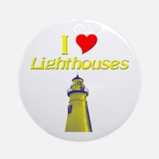 beach island cape lighthouse Round Ornament